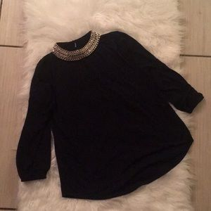 Long sleeve black sequence top